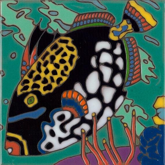 Hand painted ceramic tile clown trigger fish original art - Hand painted ceramic tile ...