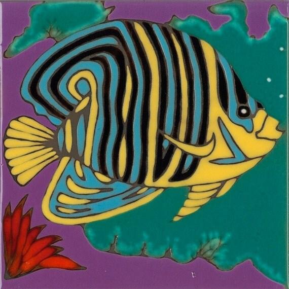 Hand Painted Ceramic Tile Angel Fish Original Art