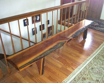 Lodge Style Solid Walnut Hand Made Natural Edge Bench