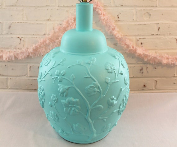 Vintage Brass Ginger Jar Lamp...Painted in Fabulous Aqua...Repousse Flowers...Beach Cottage Chic...Pair Available