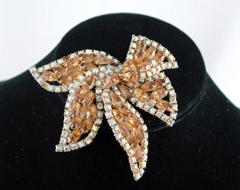 FREE SHIPPING 1950's 1950s Prong Set Clear Amber Rhinestones Bow Shaped Large Old Hollywood Vintage Pin Brooch bridal