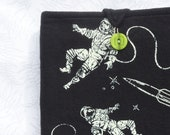 Space Ship and Astronaut Glow in the Dark Soft iPad or Touchpad Cover from Upcycled TShirt