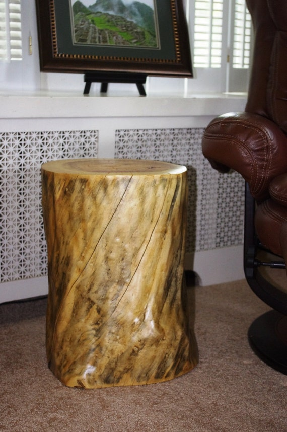 tree stump table elm end table rustic home office by hollowpine. Black Bedroom Furniture Sets. Home Design Ideas