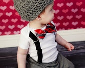 GET THE SET - Baby Boys Bow Tie Bodysuit with Suspenders and Hat - Photo Prop, Baby Boy Gift, Valentine