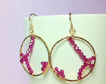 Beautiful Handmade Gold Hammered Hoops with Swarovski Crystals
