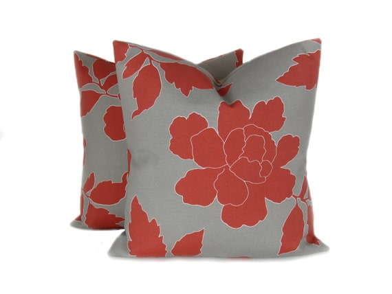 Items similar to OUTDOOR PILLOW COVER,Red Pillow, Red Gray Pillow,,Throw Pillow covers , outdoor ...