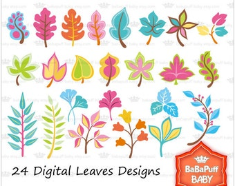 Buy 2 Get 2 Free ---- Leaves Clip Art ---- Personal and Small Commercial Use ---- BB 0194
