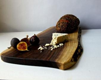 Live edge cutting board salvaged walnut wood serving board eco friendly gift