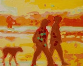 "Sunset Silhouette Carmel Beach With Dog - Oil on Canvas - 8""x10"""