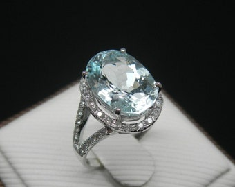 Engagement Ring -  2.5 Carat Aquamarine Ring With Diamonds In 14K White Gold