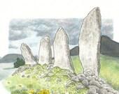 Eightercua Stone Row/Íochtar Cua Sraith Ghallán, Card Print