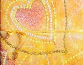 CUSTOM ORDER Sketchbook Artists Journal, perfect Easter/Ostara gift: Sunshine. A5, beaded, yellow  gold