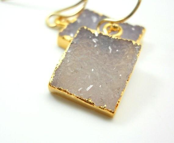 Druzy earrings, 18k gold dipped