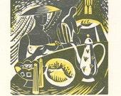 Lemon Tea - Woodcut Print