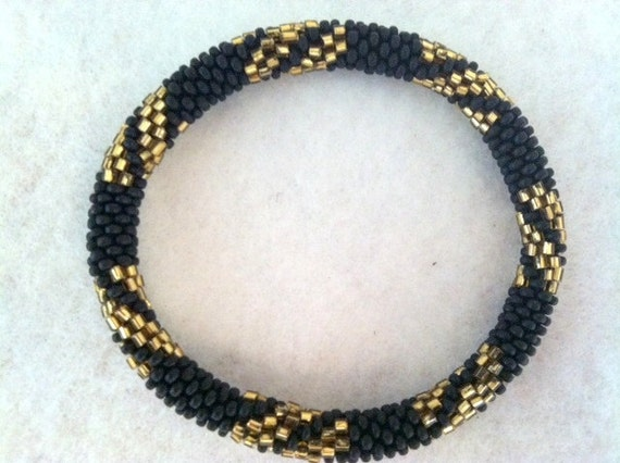 Black and Gold Crocheted Beaded  Bracelet - Nepal roll on bracelet, Fall 2012 Collection