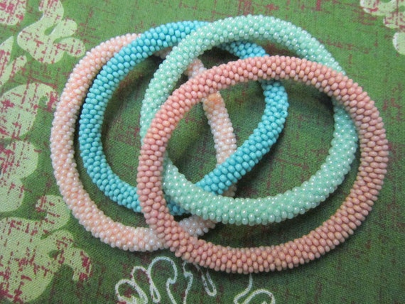 Set of Four Pastel Combination Bracelets -  Nepal roll on bracelets