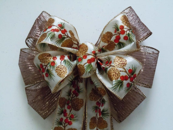 PineCones Holly Berries Christmas Wreath Bow Brown Pinecones Christmas Bow Christmas Lantern Bow Pinecones Garland Bow Winter Gift Bows