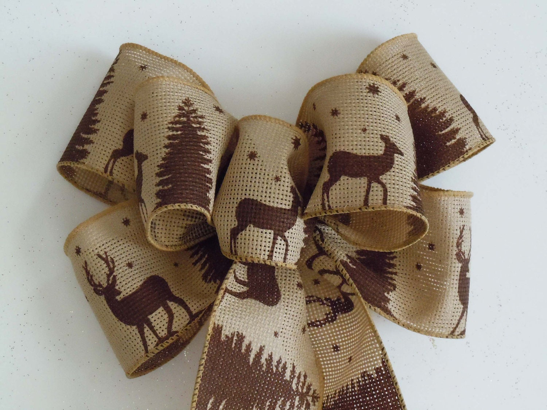 Rustic Burlap Christmas Bow, Christmas Burlap Wreath Bow, Christmas Garland Bow, Burlap Ornament Bows,Burlap Gift Bow