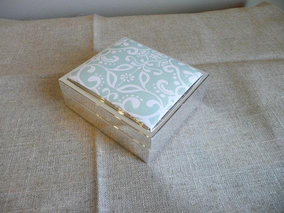 Mint Trellis Silver Plate Jewelry Box Small Bridesmaid s/7