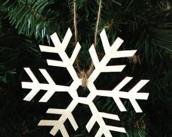 Snowflake Handpainted Wooden Christmas Tree Decoration