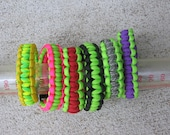 Choice of Lime Green with hot pink, red, ACU camo, day glow, orange or dark green 550 paracord bracelet