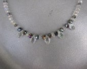 Cloudy Tears - Clear and Gray Crystal Beaded Necklace