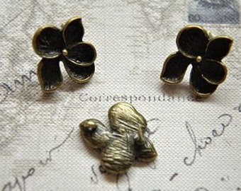 20 pcs  plating antique bronze  flower earring cab  finding