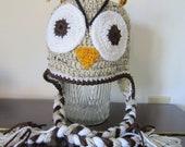 OWL HAT. Natural Brown Owl Hat.