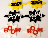 COMIC SOUND EFFECTS-  Fondant Cupcake, and Cookie Toppers - 1 Dozen