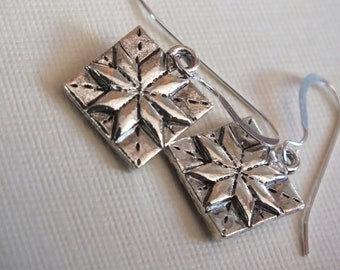 Quilt Jewelry -Sterling Silver Earrings with a knitting, sewing, quilting theme - LeMoyne Star-