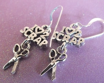 Quilt Jewelry -Sterling Silver Earrings with a knitting, sewing, quilting theme - I heart 2 scrap-