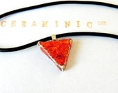 Valentine's Day Geometric Necklace Red Ceramic Triangle Jewelry Christmasinjuly  Leather Cord in Recycled Box