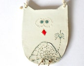 SATURDAY SALE Boy Ceramic Owl Ornament Spider Decoration Eco Friendly