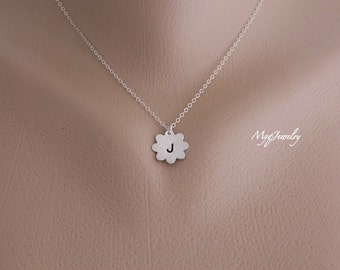 Children Initial Necklace, Flower Girl Necklace, SILVER Necklace, Flower Girl Jewelry, Flower Charm, Kids Jewelry, Flower Girl's Gift