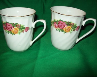 Two (2) Porcelain Coffee Cups from Regent China, in the English Rose Pattern