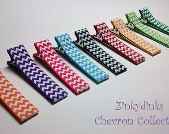 12 Lined White Chervon Alligator Clips -- You Pick Color (QUICK TO SHIP)