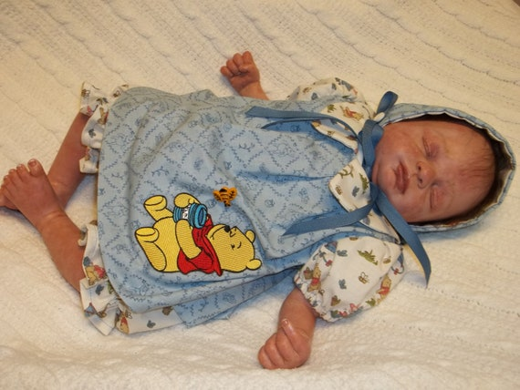 BabyCakes Boutique' by BWG 3 piece Preemie Winnie the Pooh dress set for reborn baby by Rhonda Bartley
