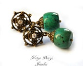 """Reserved Earrings """"green turquoise"""" fittings in bronze"""