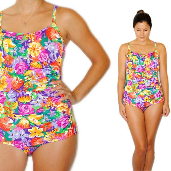 SALE Vintage Bathing suit Colorful Tropical Retro Swimsuit  -- Catalina Pink Orange Purple Yellow Floral Modest One Piece Medium Large XL