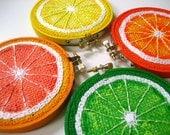 Any 3 Fruit Embroidery Hoop Art, Painted Burlap, Kitchen Wall Art, Fabric Wall Art, Hand Sewn Textile Art, Mixed Media Painting, Fiber Art