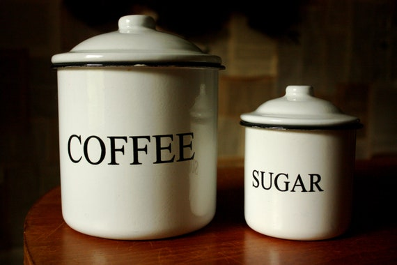 Vintage Black and White Enamel Coffee and Sugar Canisters
