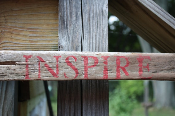 Hand Made, Hand Painted Drift Wood Sign/Wall Hanging-INSPIRE in Red