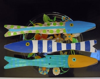 Set of 3 Caribbean Colored Fish Art Hand Painted Reclaimed Wood Beach Cottage Cabin Decor