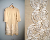 The Regal Ribbon - Vintage 60s Cream Wool Knit Ribbon Shift Dress