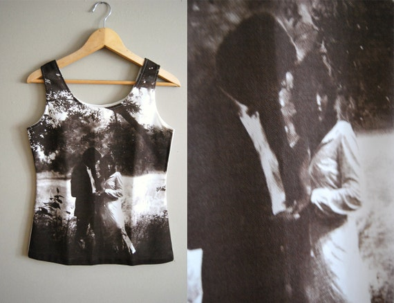 Imprint Love - Vintage 70s Silk Screen Printed Sepia Toned  Wedding Photo Tank Top