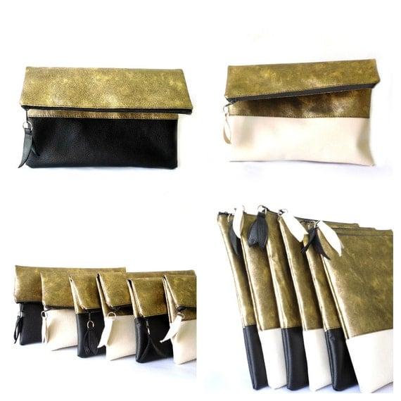 Foldover clutch purse, Gold Cream Black, Vegan Leather