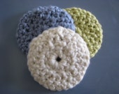 Organic Cotton Face Scrubbies - Eco-friendly Makeup Removers - Set of Three