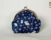 Rabbit on the Moon Purse, bunny, kiss lock, kisslock, bag, small, little, coin purse, kid, children, navy, blue, flower, japanese fabric