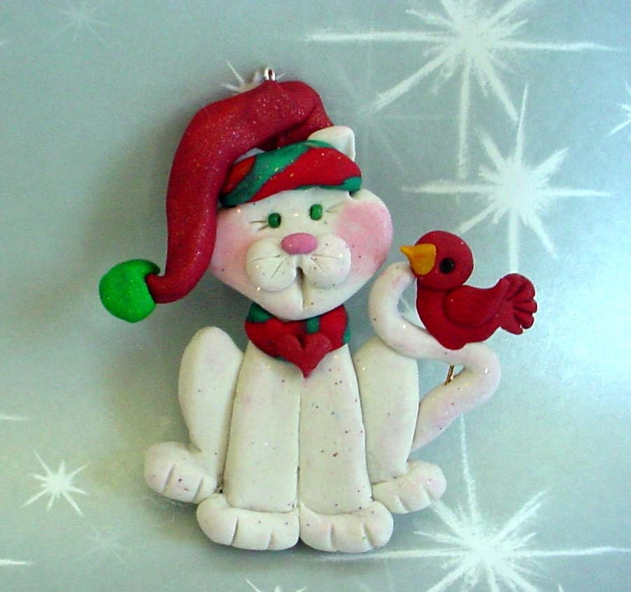 Polymer Clay Christmas Ornament: Polymer Clay Milestone Christmas Ornament W White Cat Red