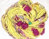 Handspun Bulky, Textured Art Yarn- Scrambled Tribbles